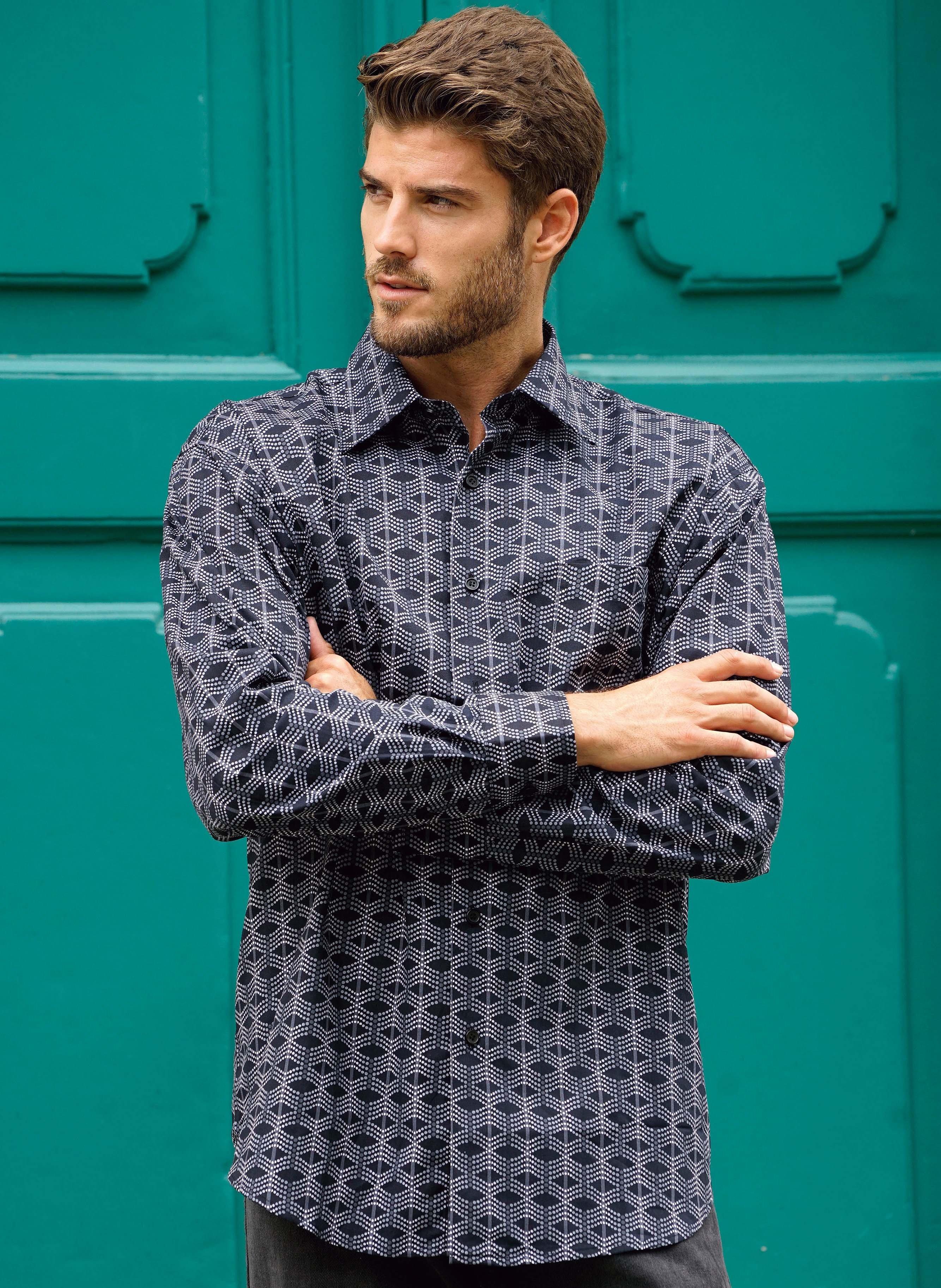 Langarm-Hemd, Brusttasche, marine/schwarz
