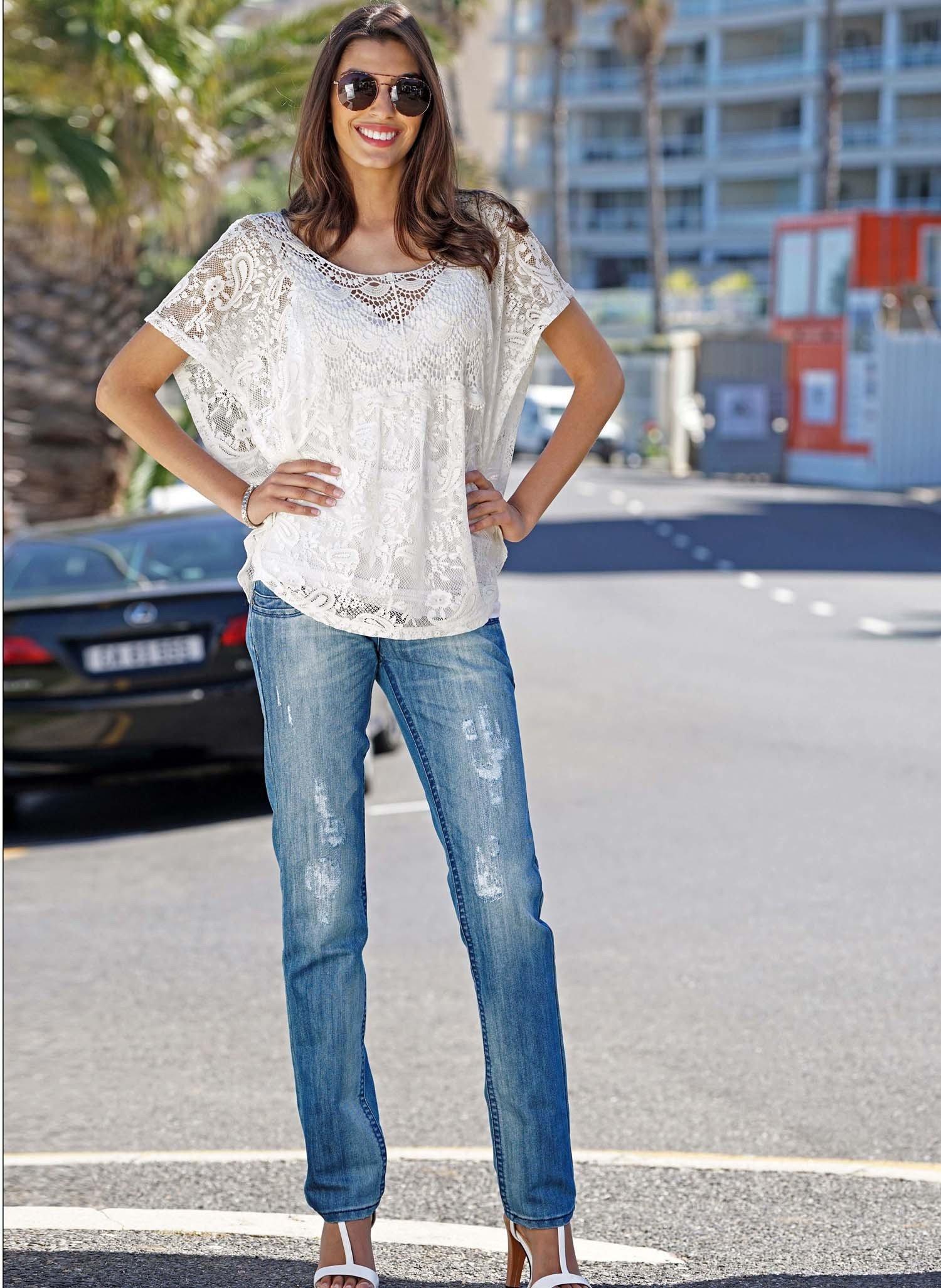 D-Jeans,Röhrli,Loch,Blue-Denim 34 - 1 - Ronja.ch