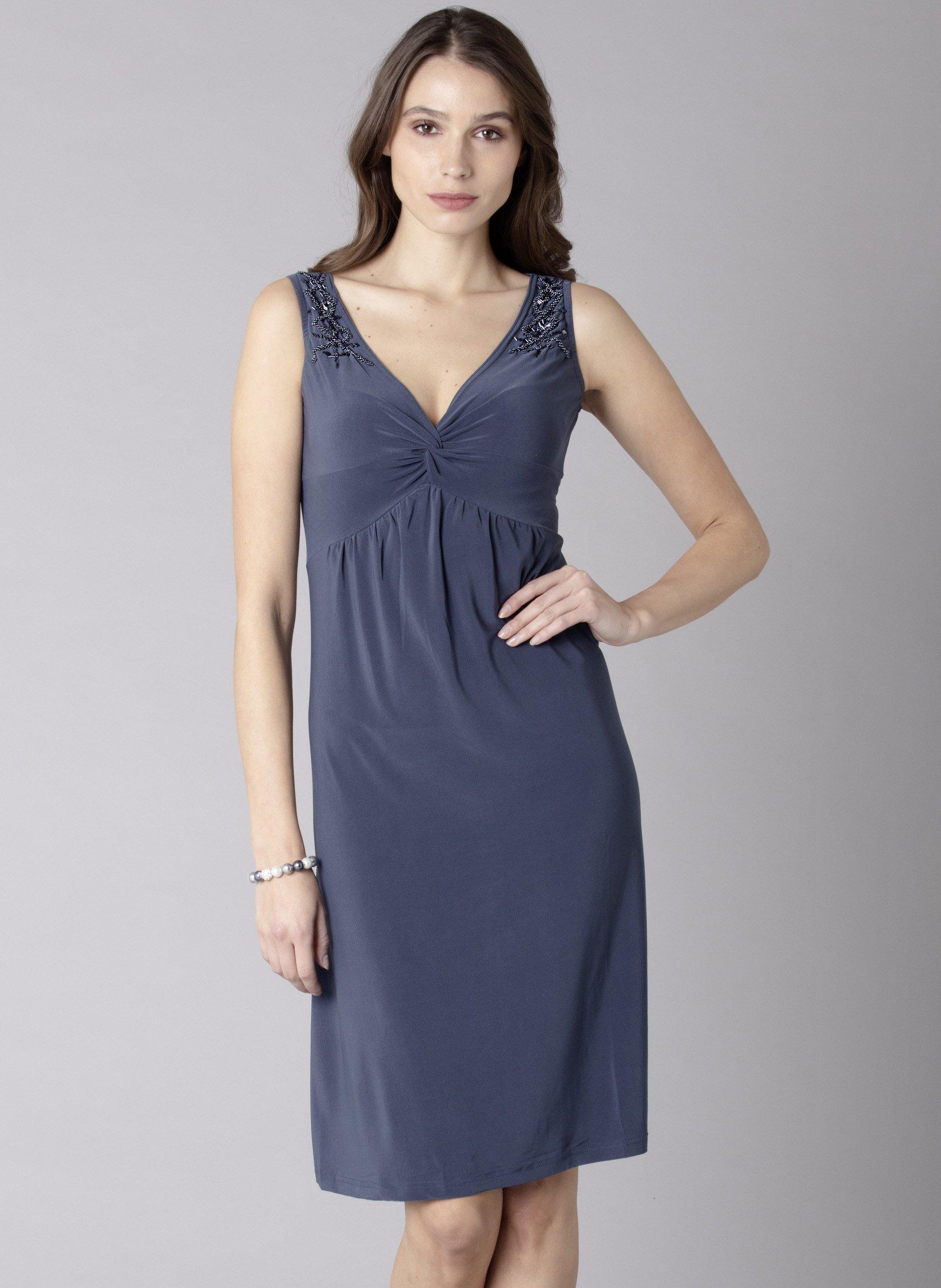 D-AL-Kleid,V-Ausschn. grau L 003