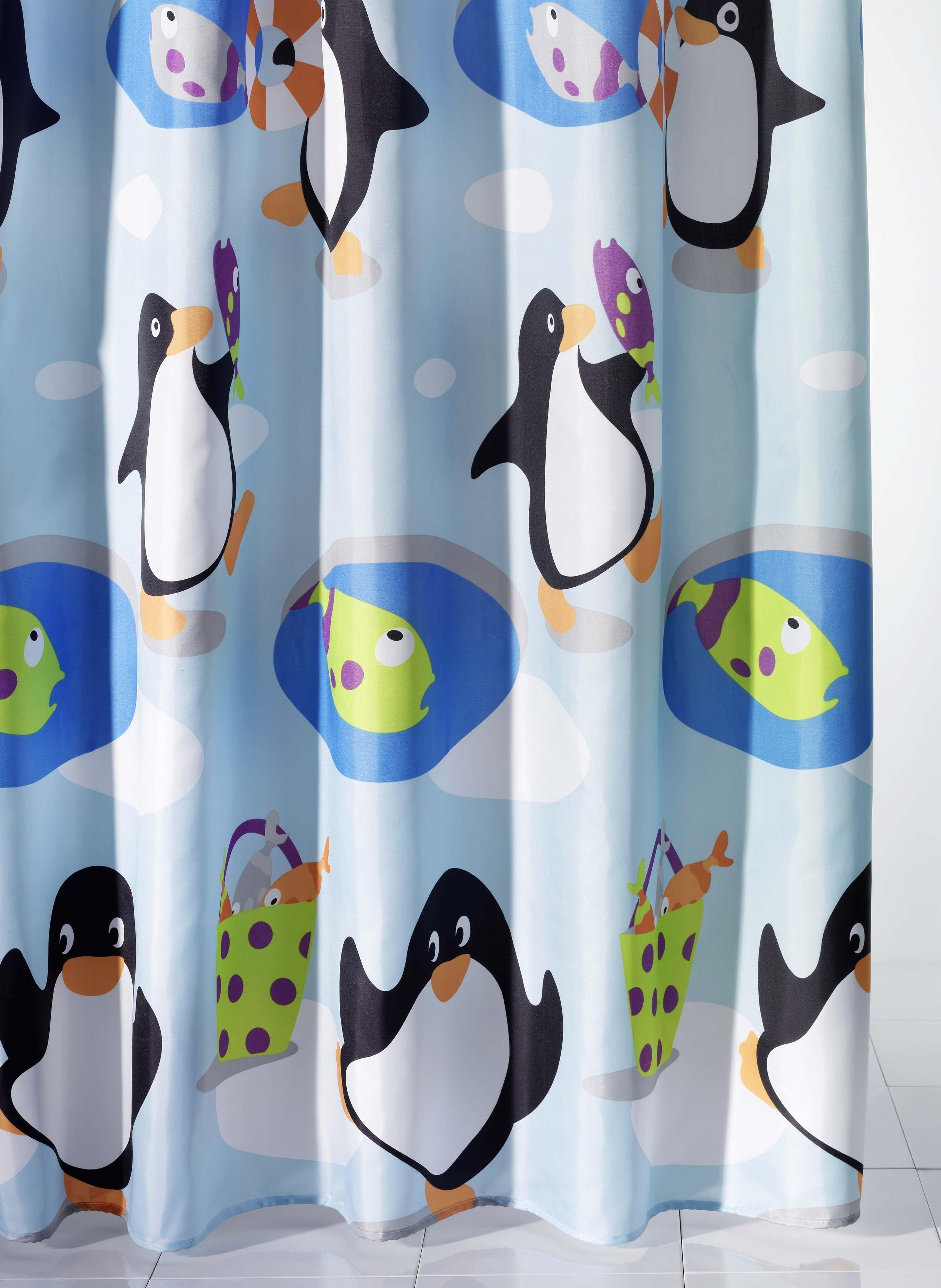 Textil-Duschvorhang,Pinguin