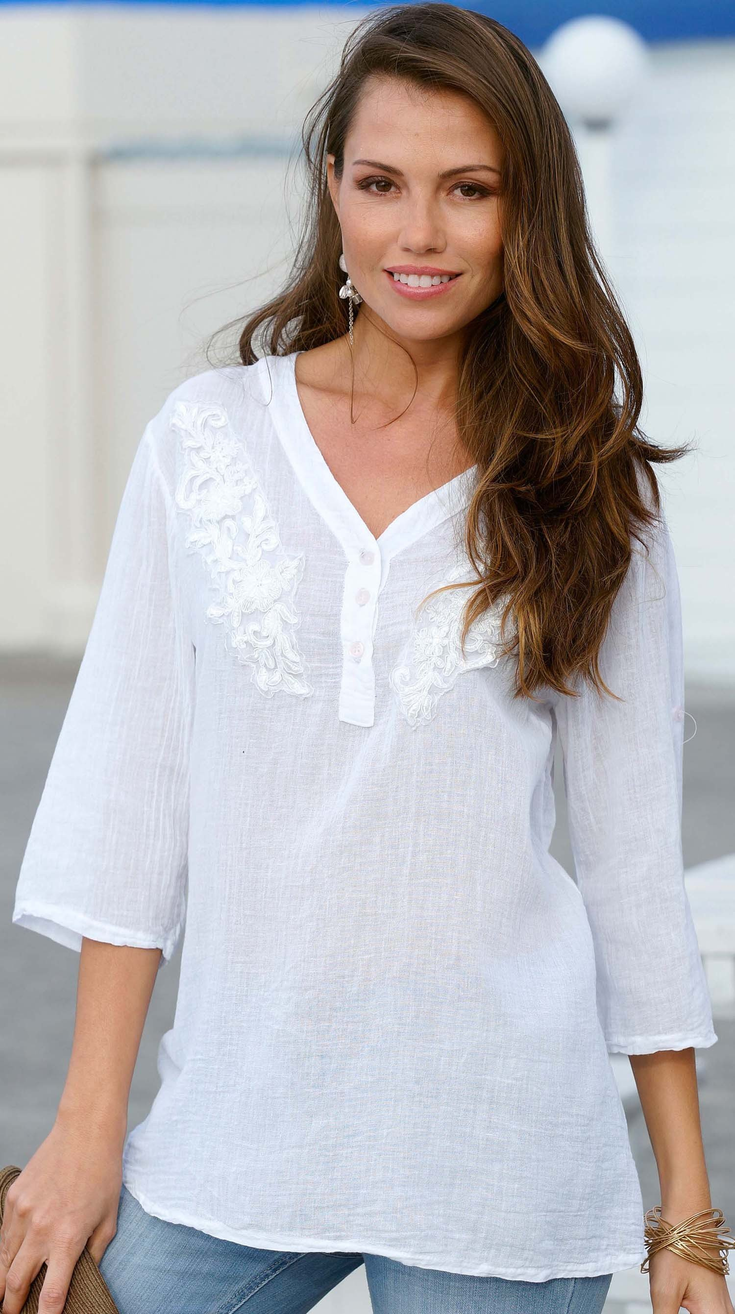 D-3/4-Blusen-Top,Floral weiss M 001 - 1 - Ronja.ch