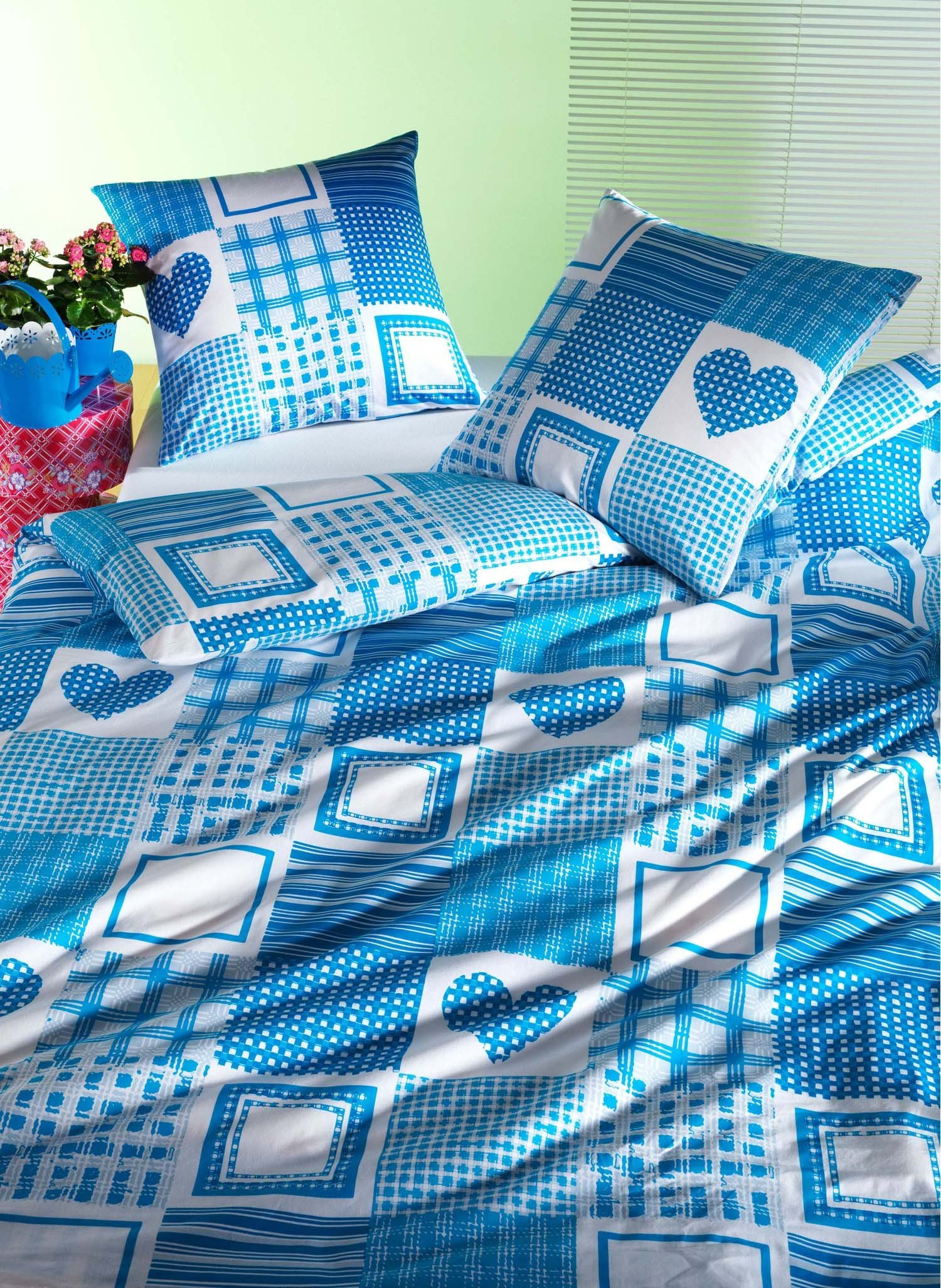 "Kissen ""ELISA"" 65x65cm blau - 1 - Ronja.ch"