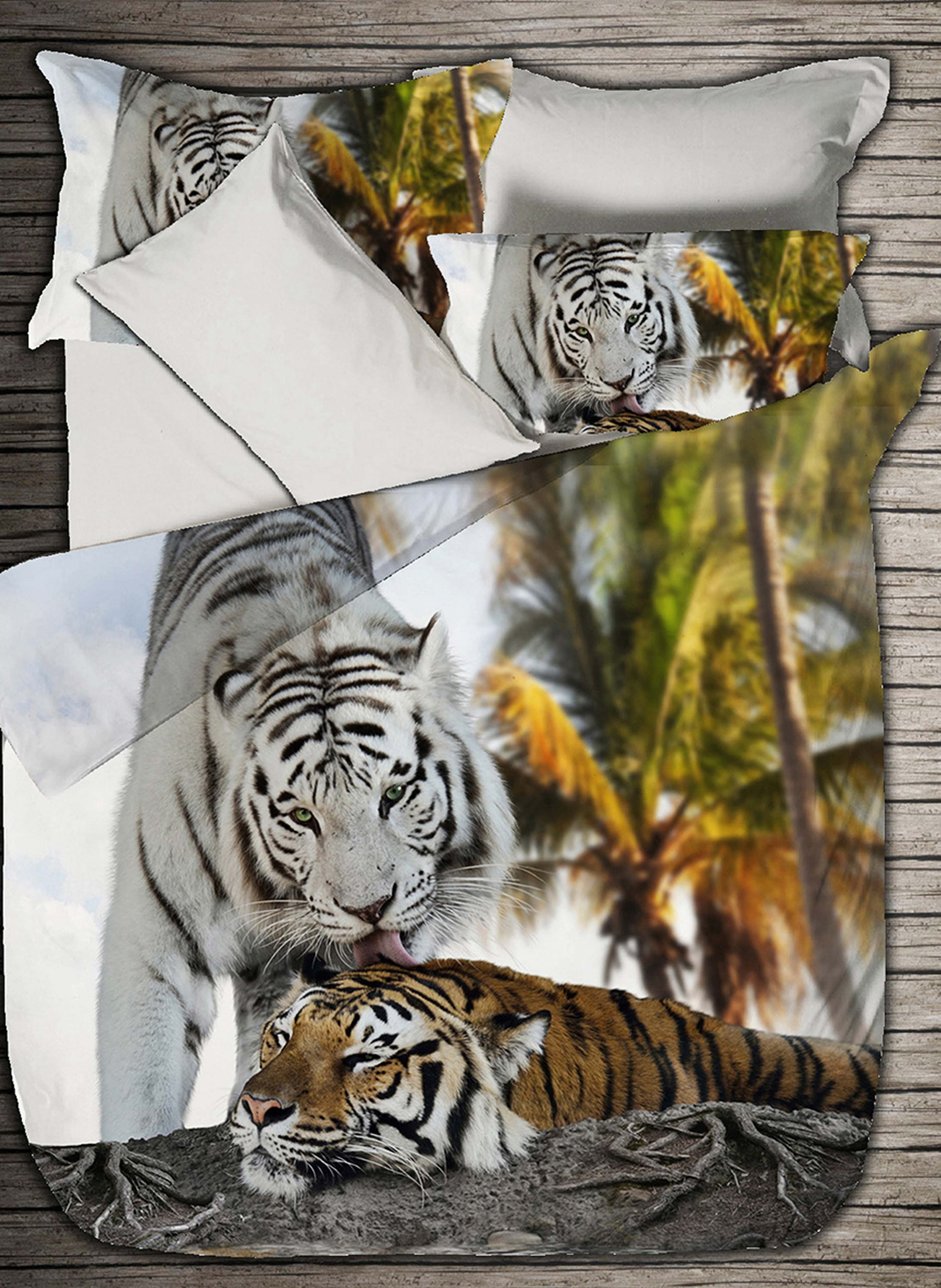 Digital-Print Satin-Bettwäsche «TIGER LOVE»