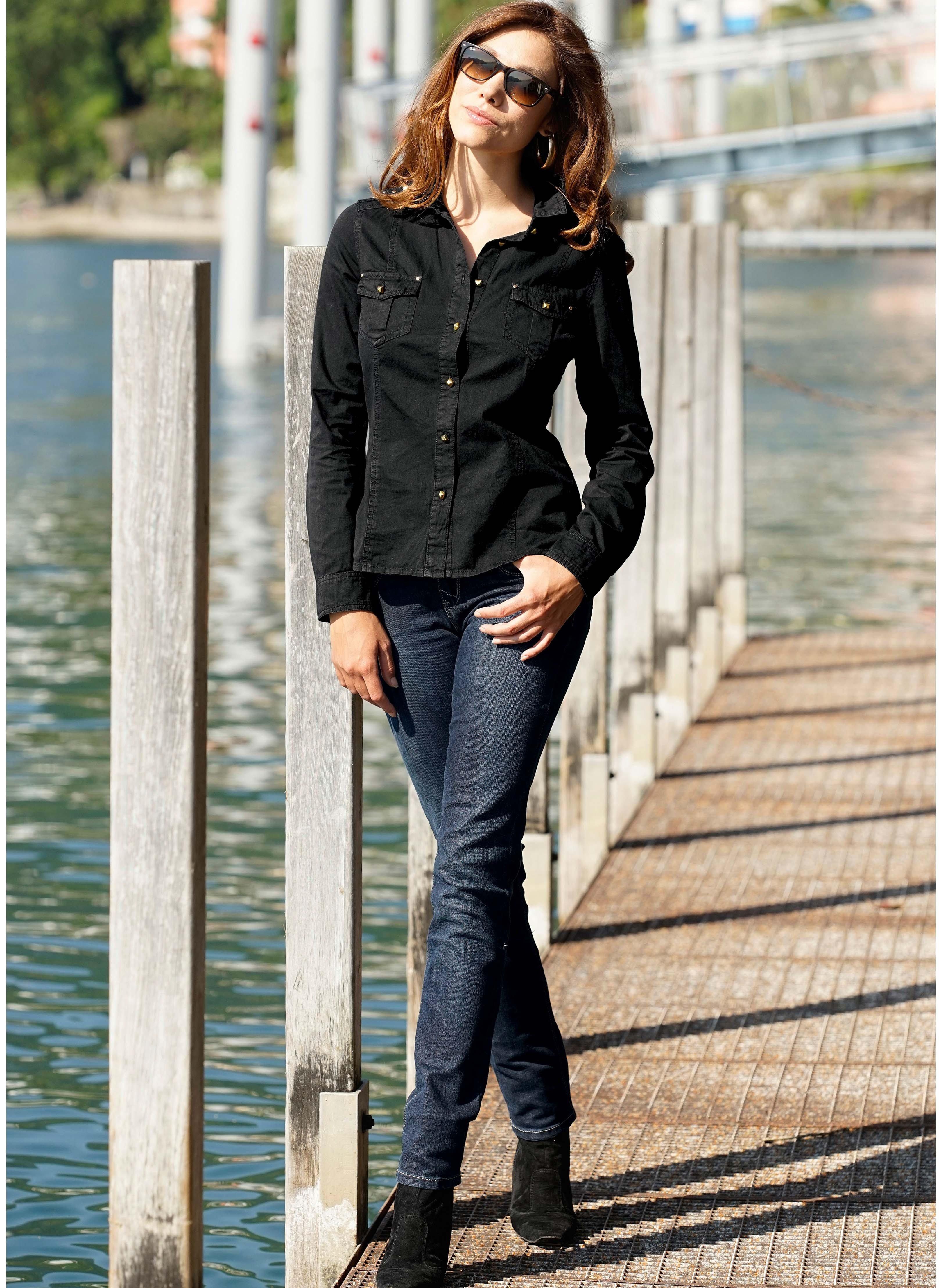 5-Pocket Stretch-Jeans Einfassungen