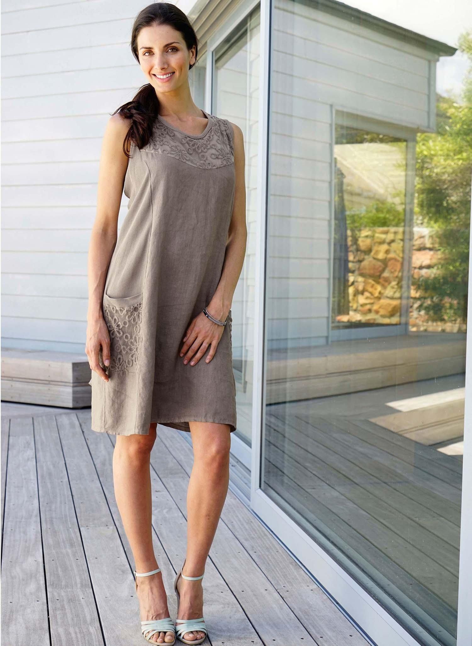 D-Leinen-Kleid,Floral taupe S 066 - 1 - Ronja.ch