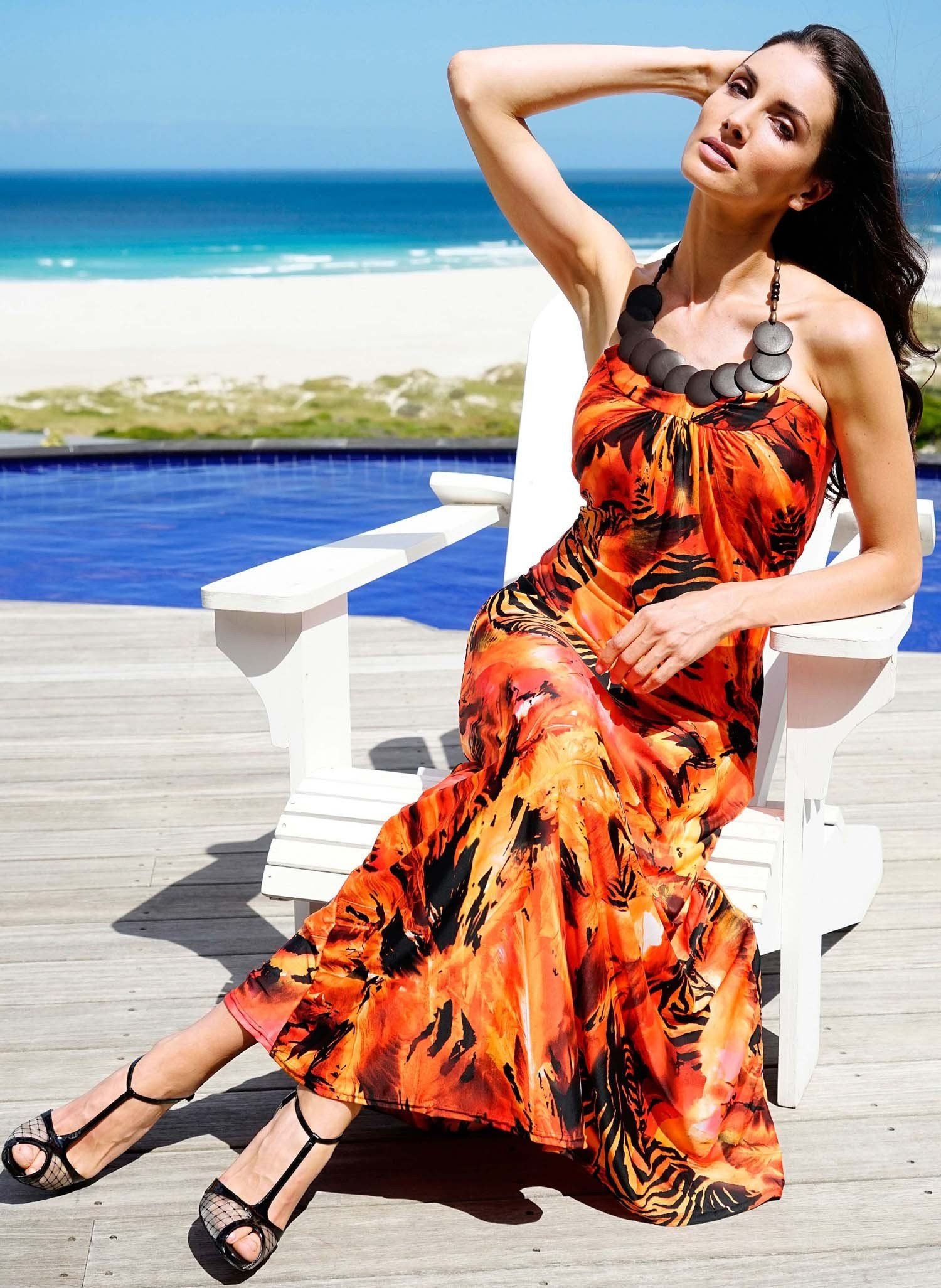 D-Neck.Kleid,Animal rot/orange L 157 - 1 - Ronja.ch