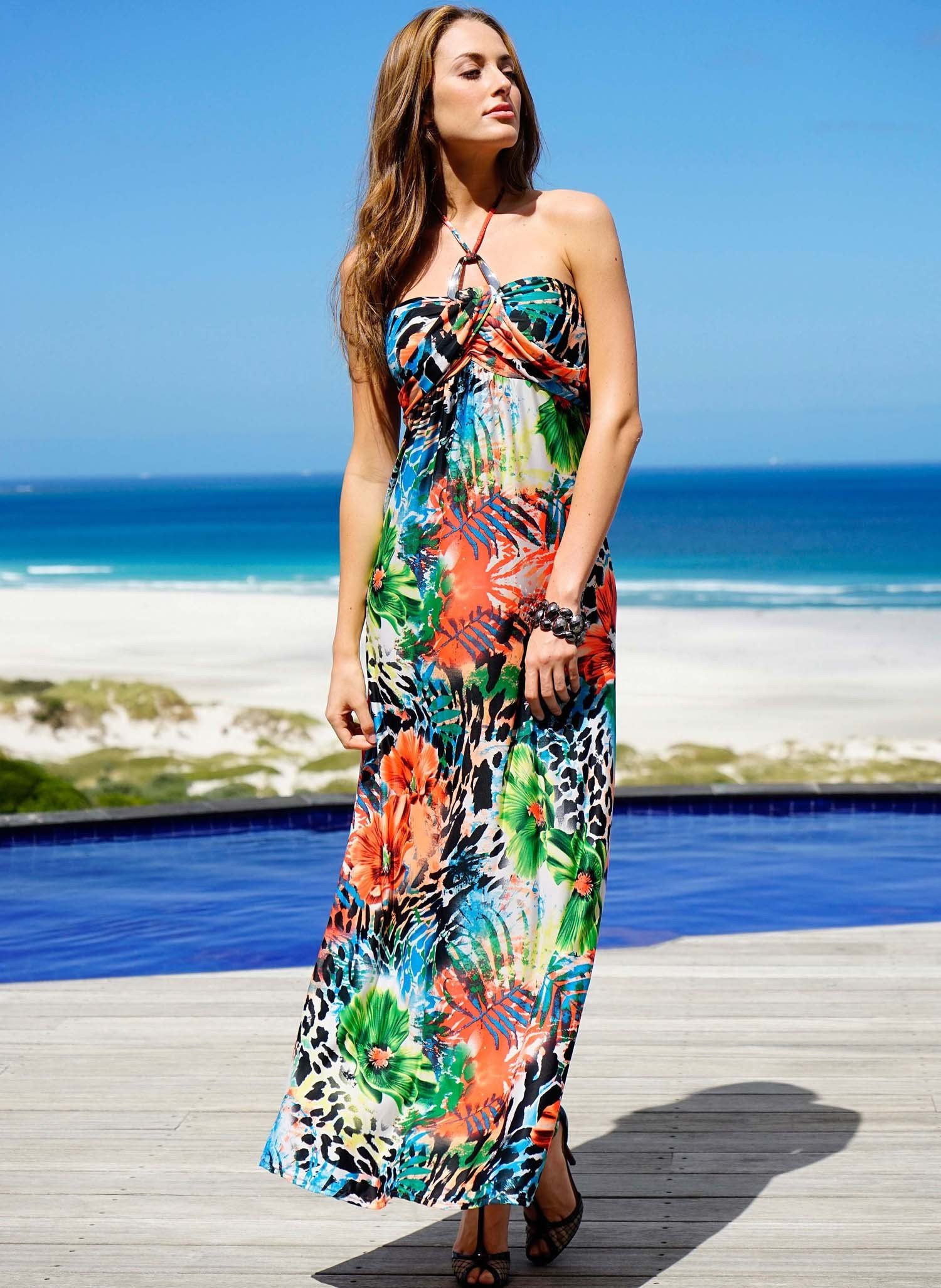 D-Neck.Kleid,Blumen multicolor L 058 - 1 - Ronja.ch