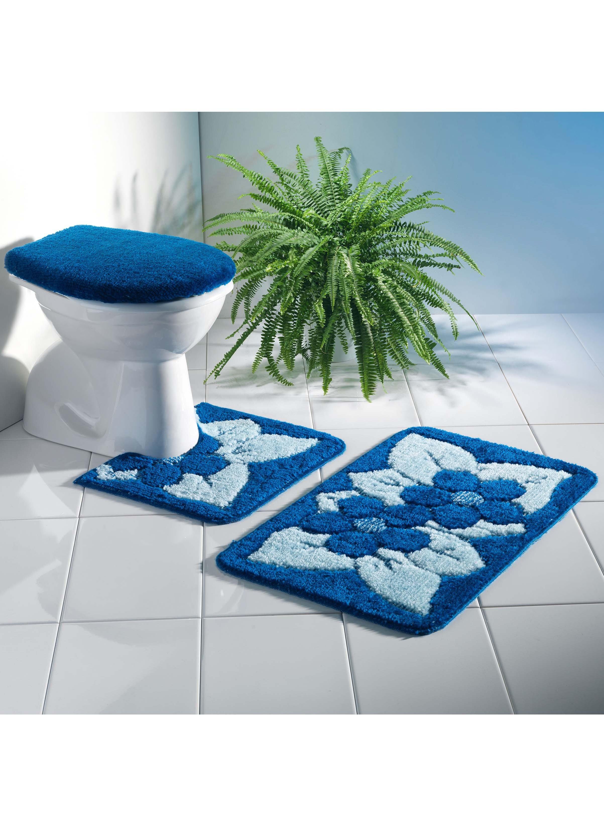 Bad/WC-Garnitur Floral, 3-teilig mit Ausschnitt