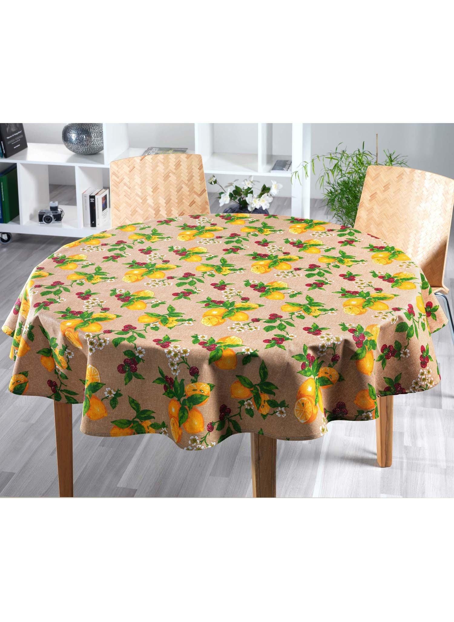 Tischd.Zitrone/beige 140x180cm