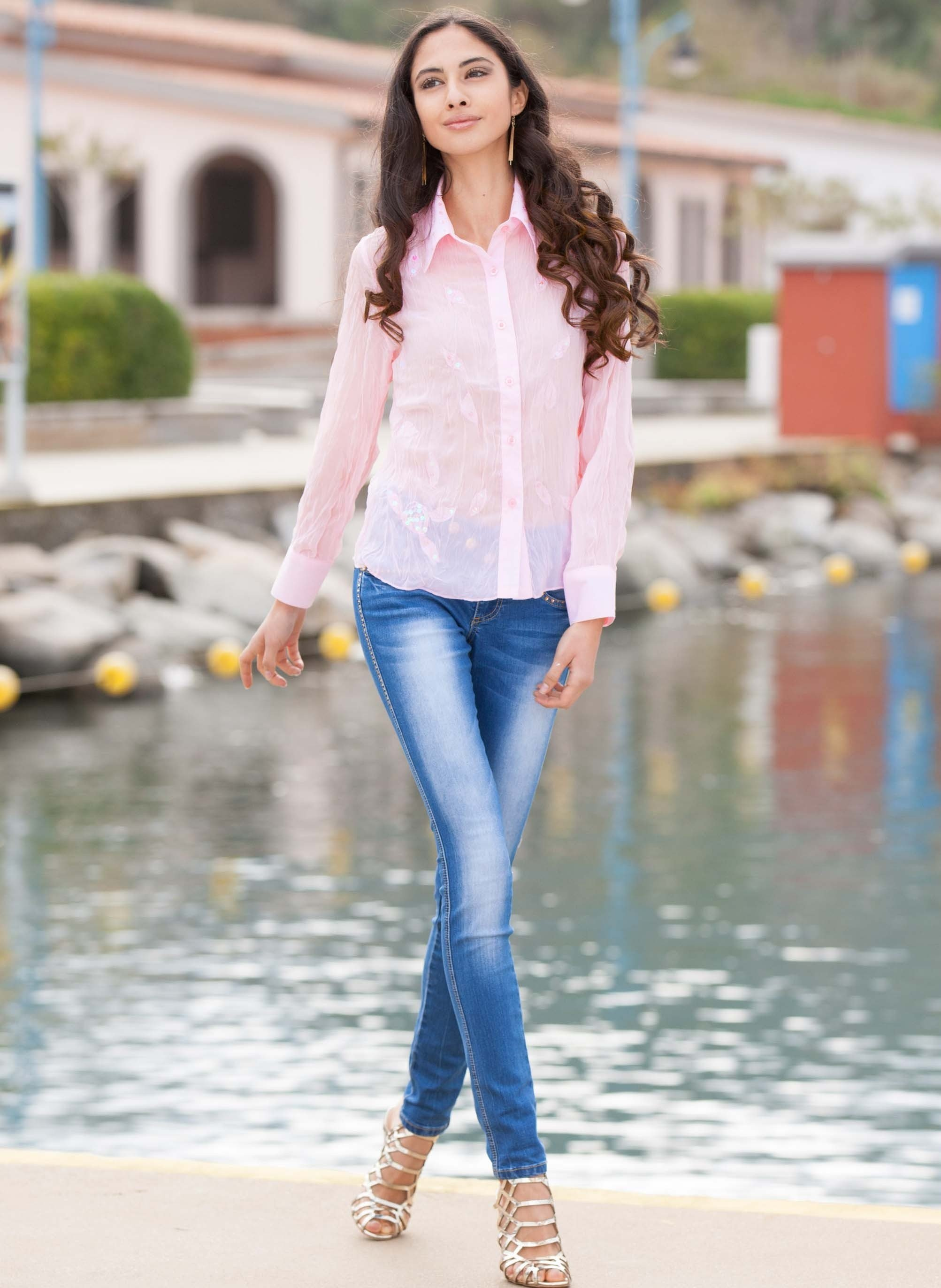 Damen-5Pocket-Stretch-Jeans,gold-Strass Blue-Denim