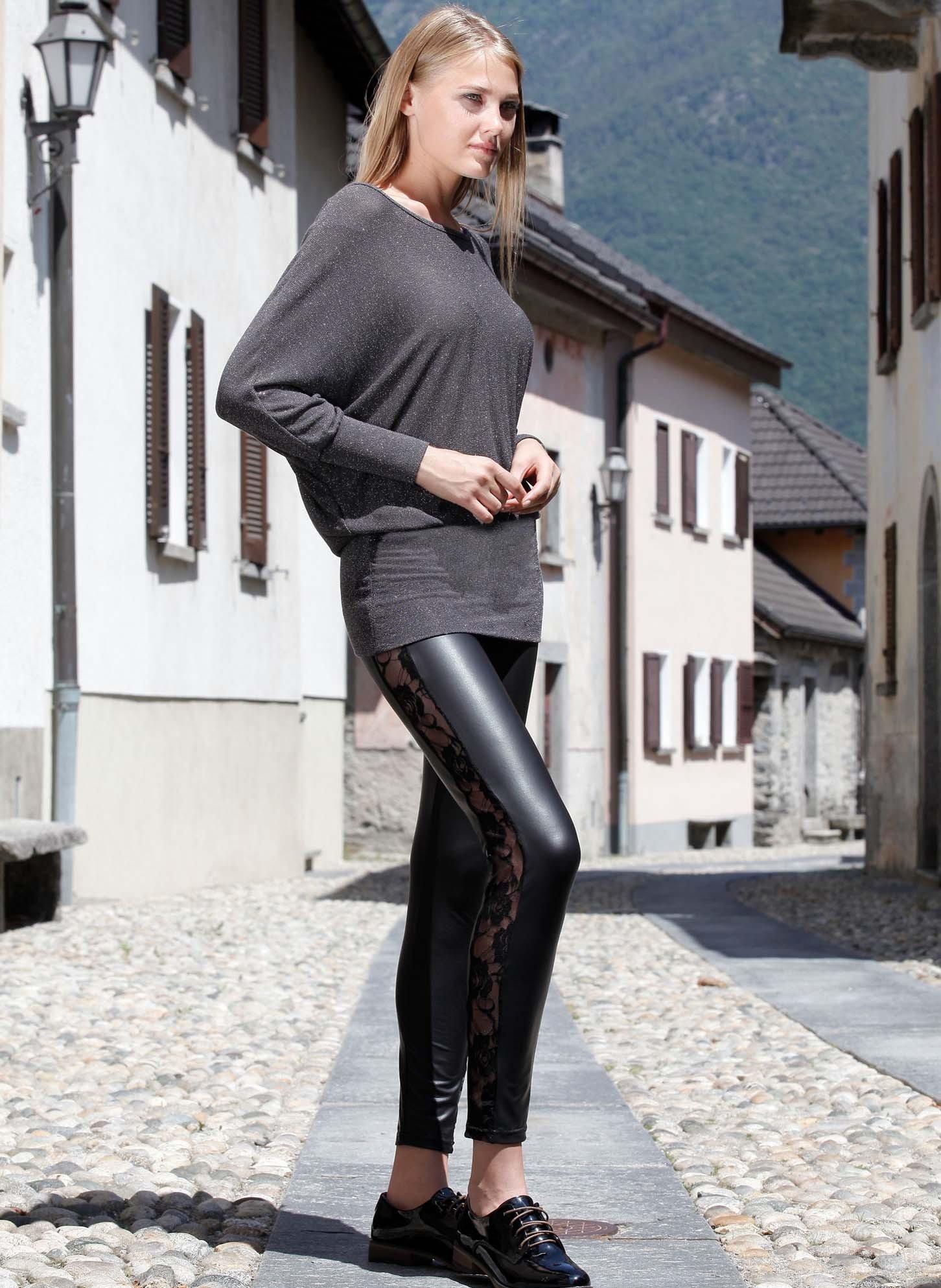 Leggings mit transparentem Spitzeneinsatz