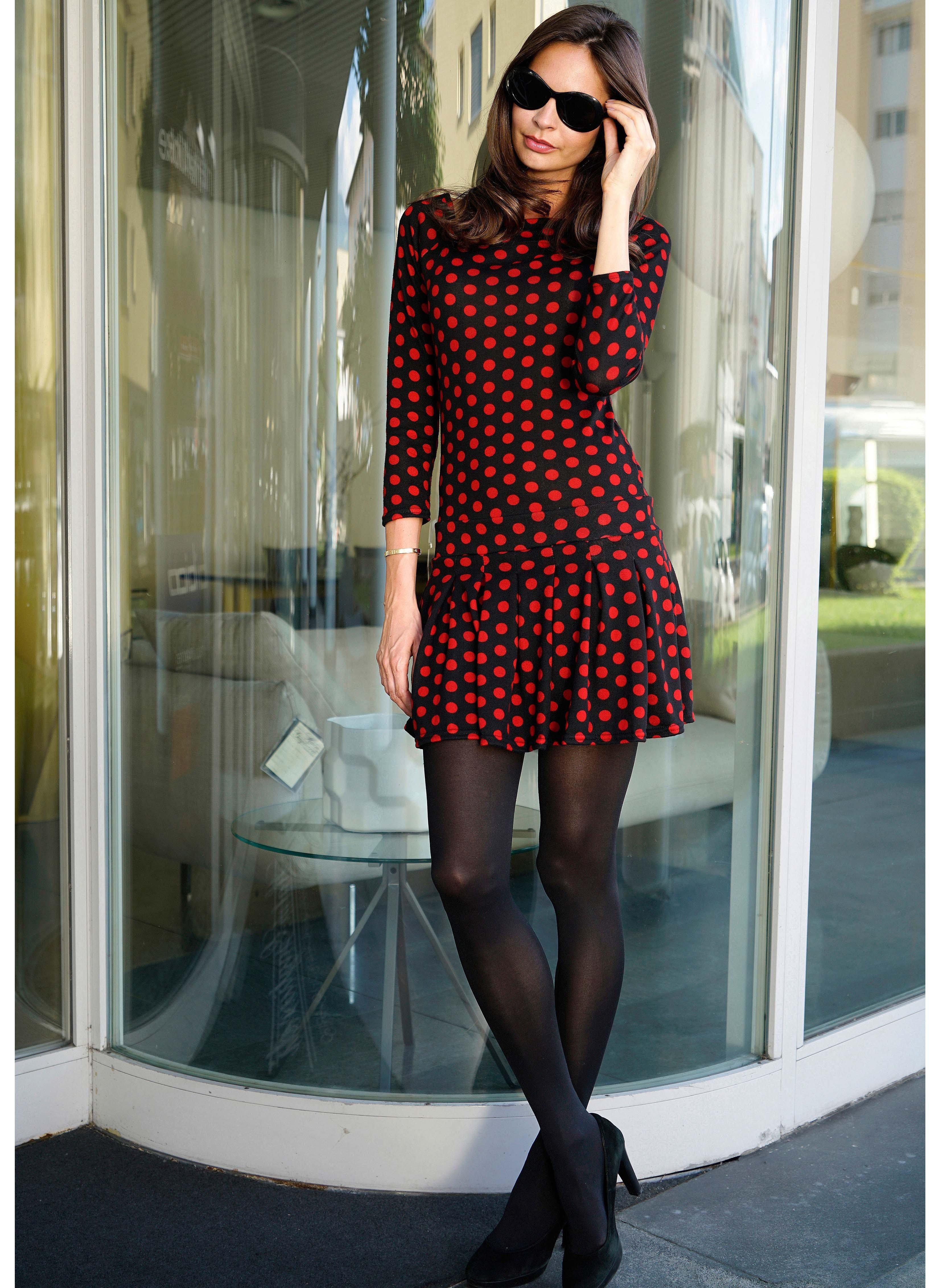 Langarm-Kleid Tupfen, Jersey-Feinstrick