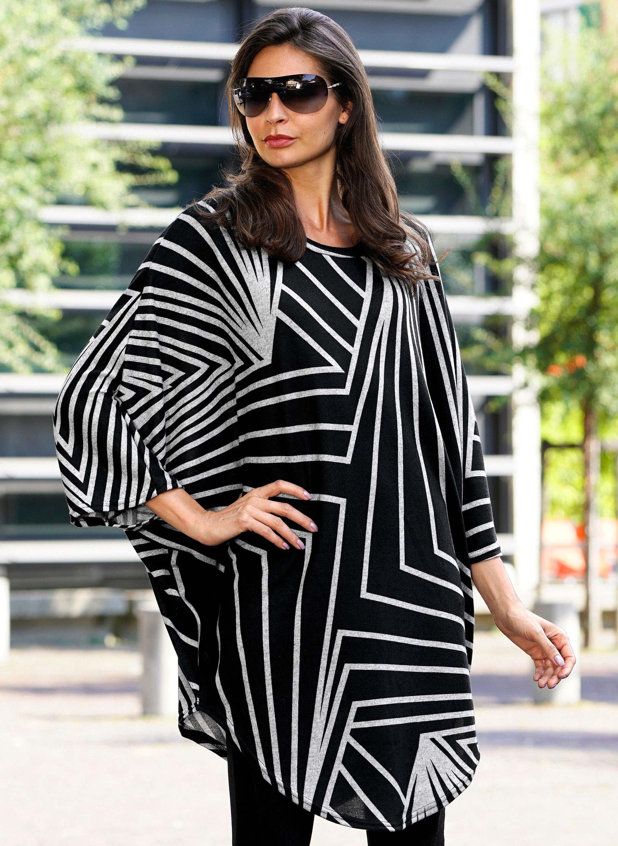 Poncho-Kleid Grafik-Dessin