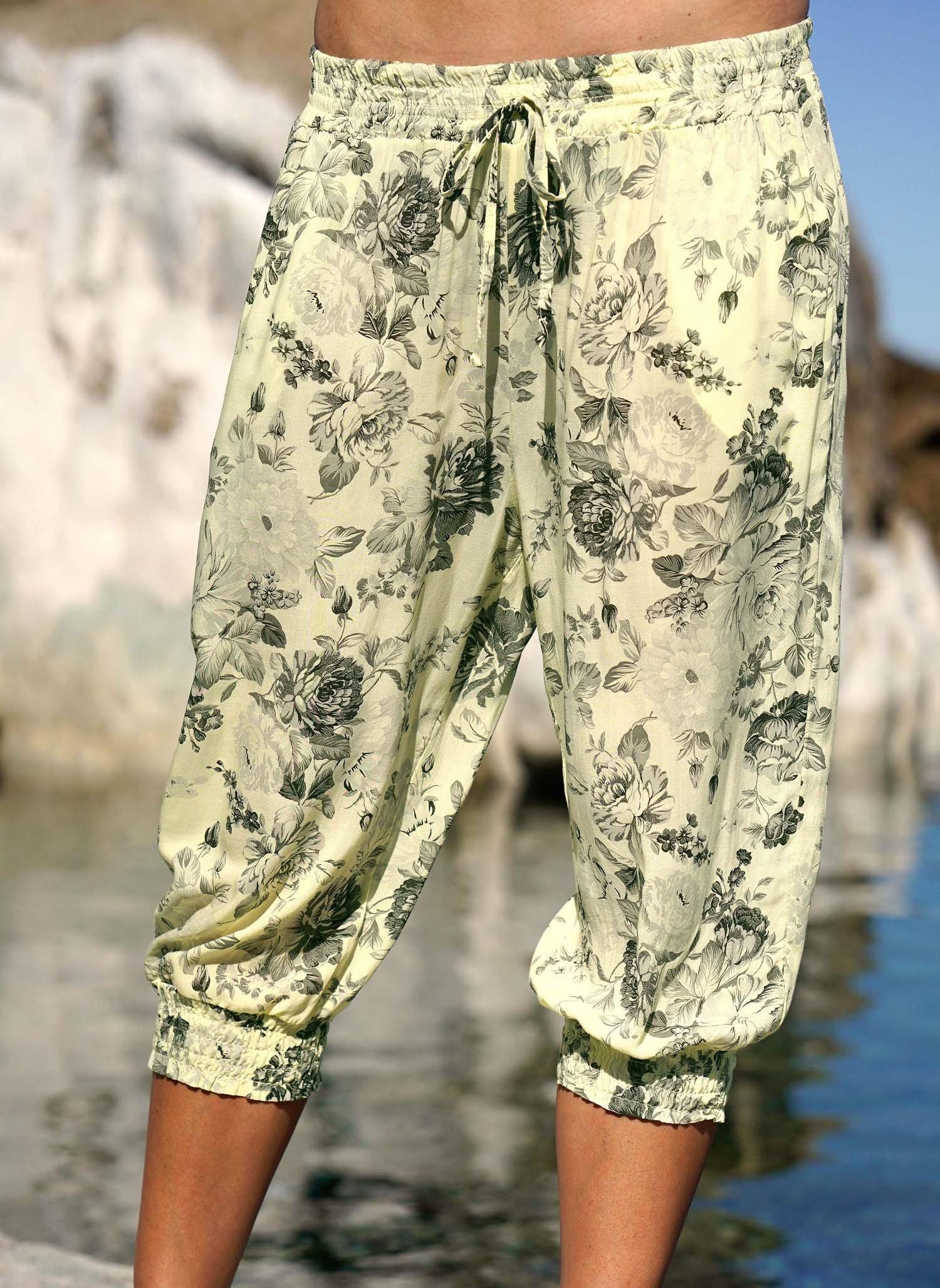 D-Capri-Hose,Floral-Print gelb L 015 - 1 - Ronja.ch