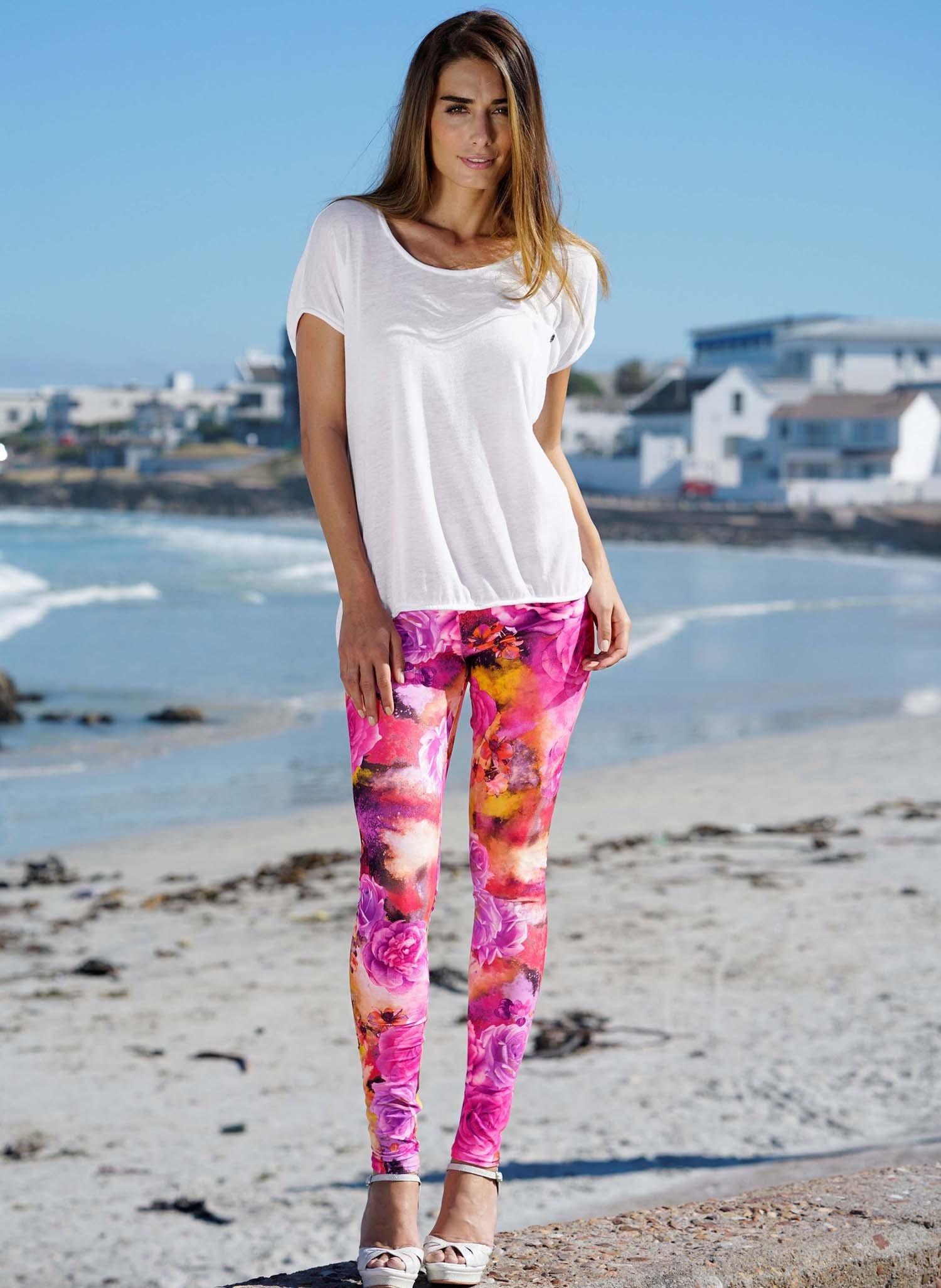 D-Leggings, Rosen pink L 011 - 1 - Ronja.ch
