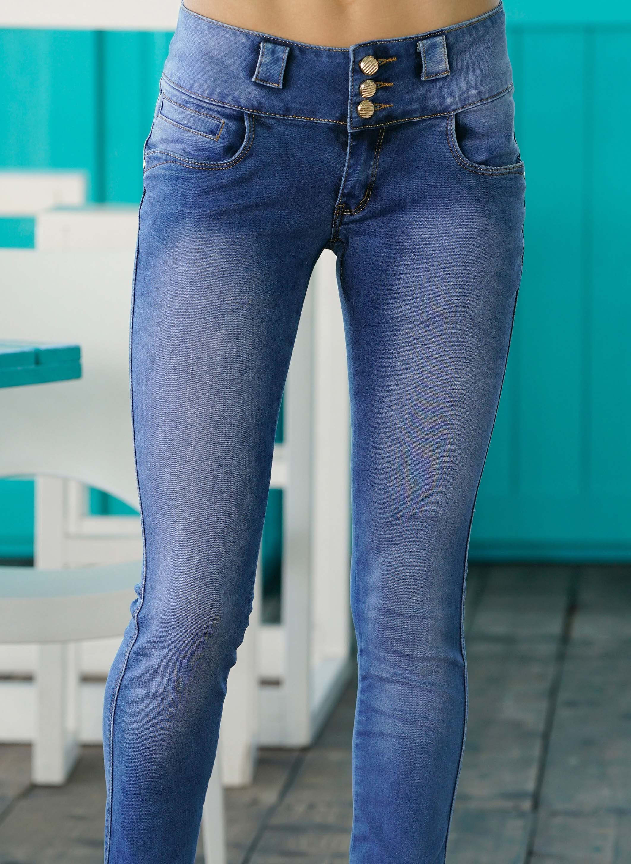 5 pocket jeans hoher bund umschl ge. Black Bedroom Furniture Sets. Home Design Ideas