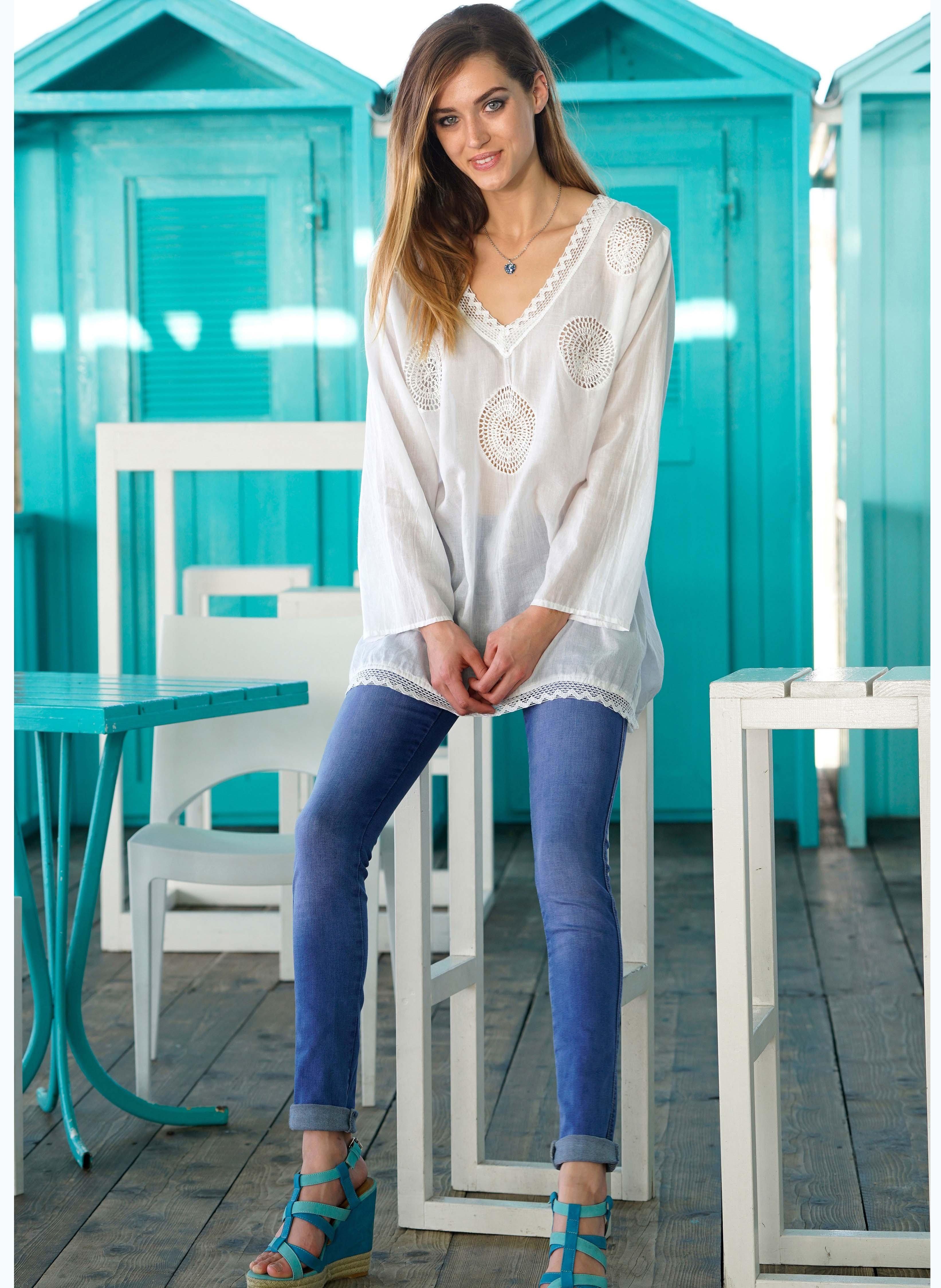 5-Pocket-Jeans hoher Bund, Umschläge