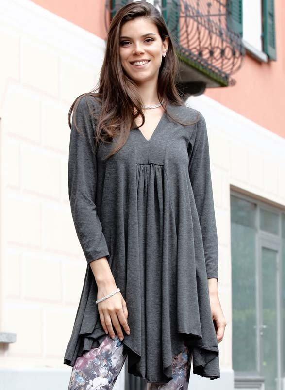 Long-Top/Kleid, zarte Falten, Jersey-Qualität