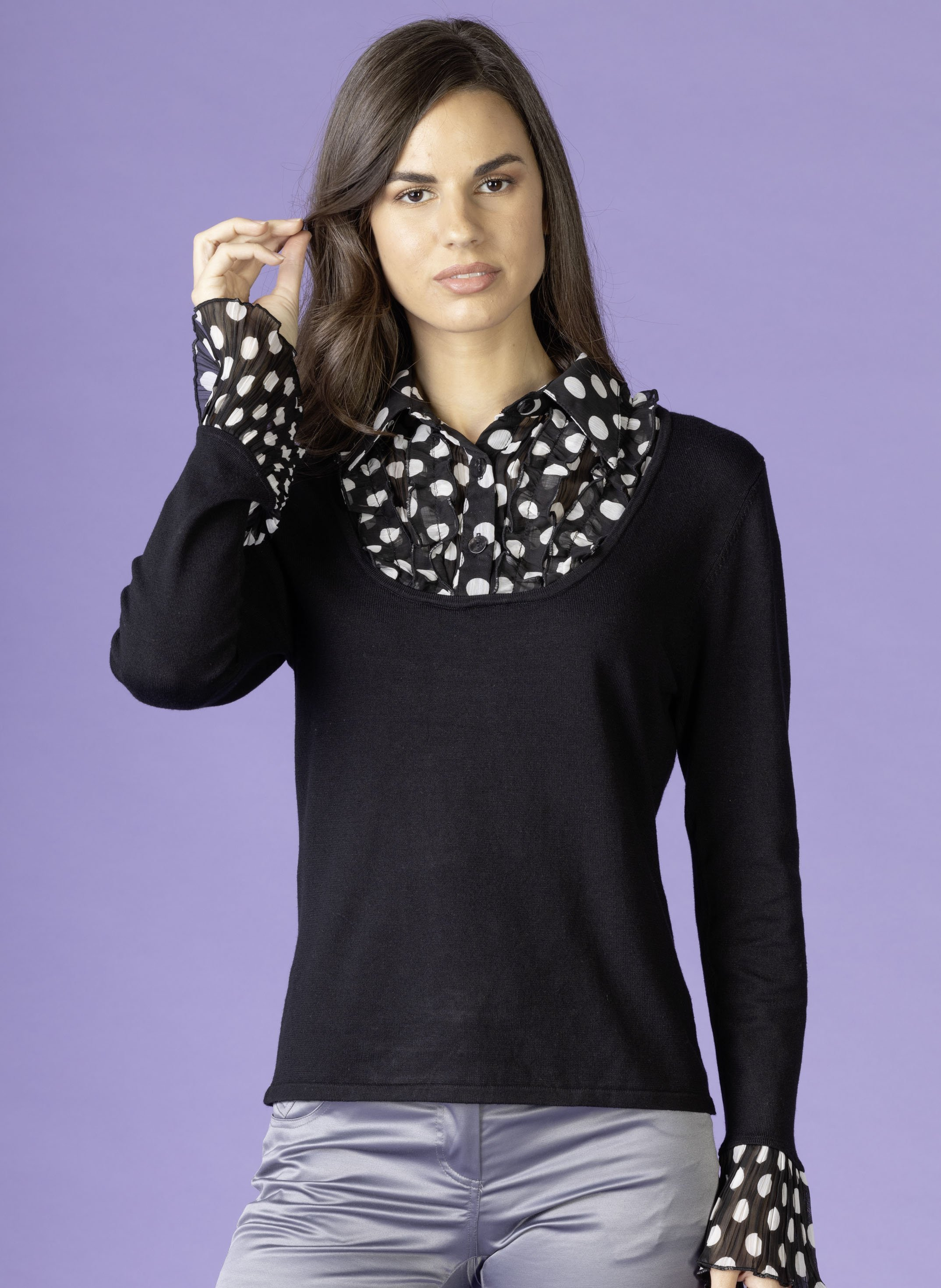 Pullover-Bluse Feinstrick