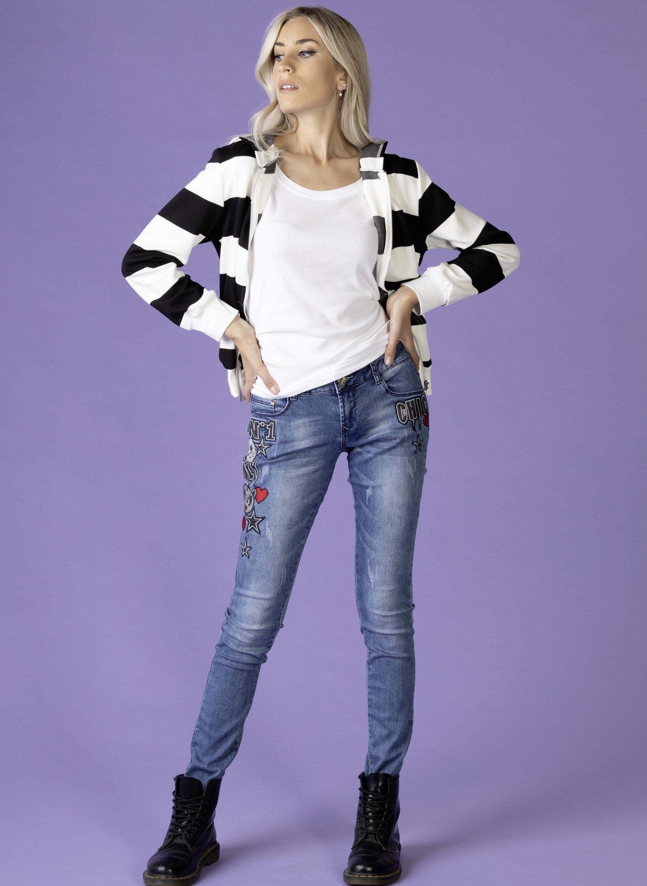 Stretch-Jeans Stickerei-Applikation