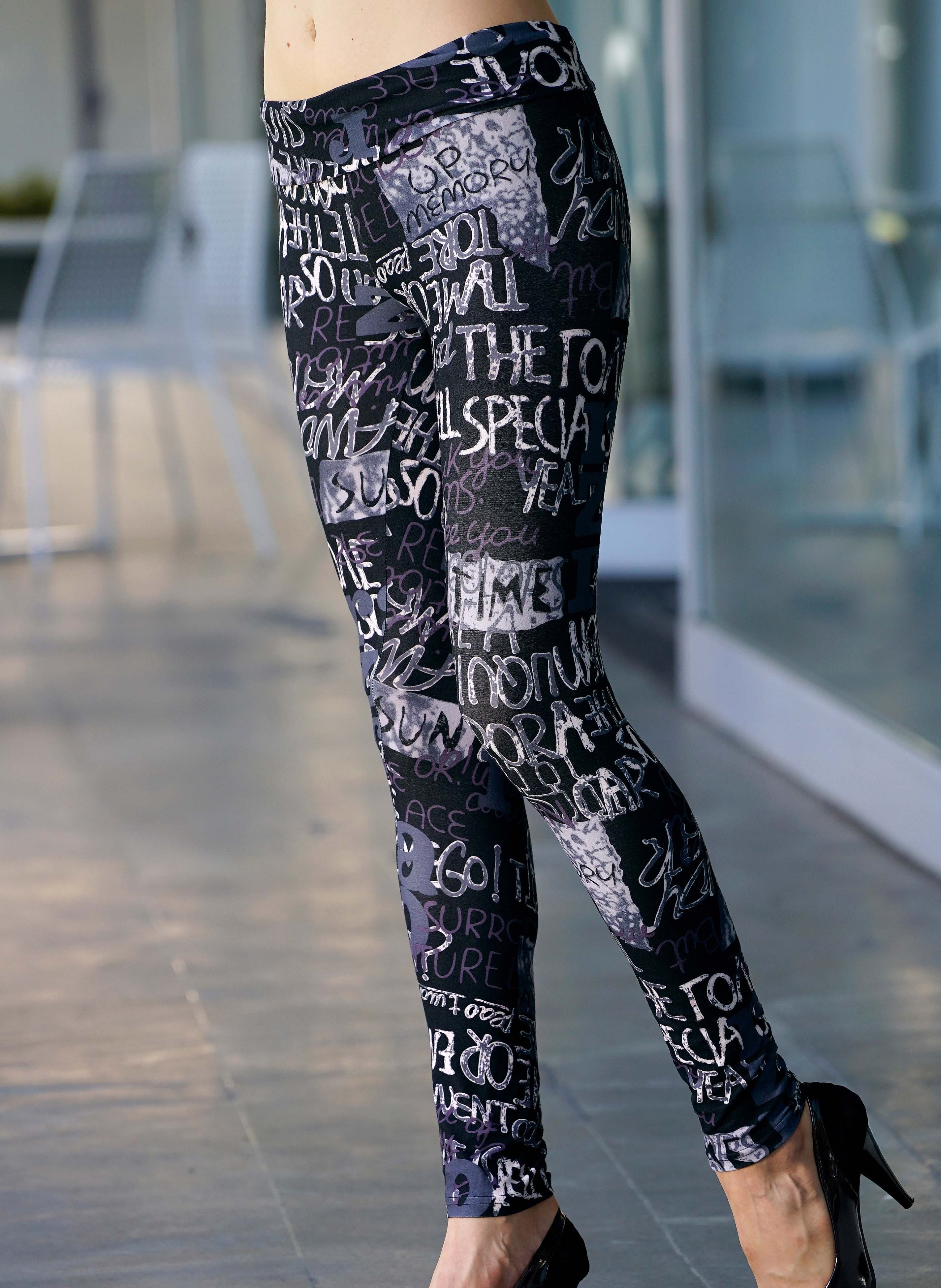 Leggings grau/violett Schriftprint