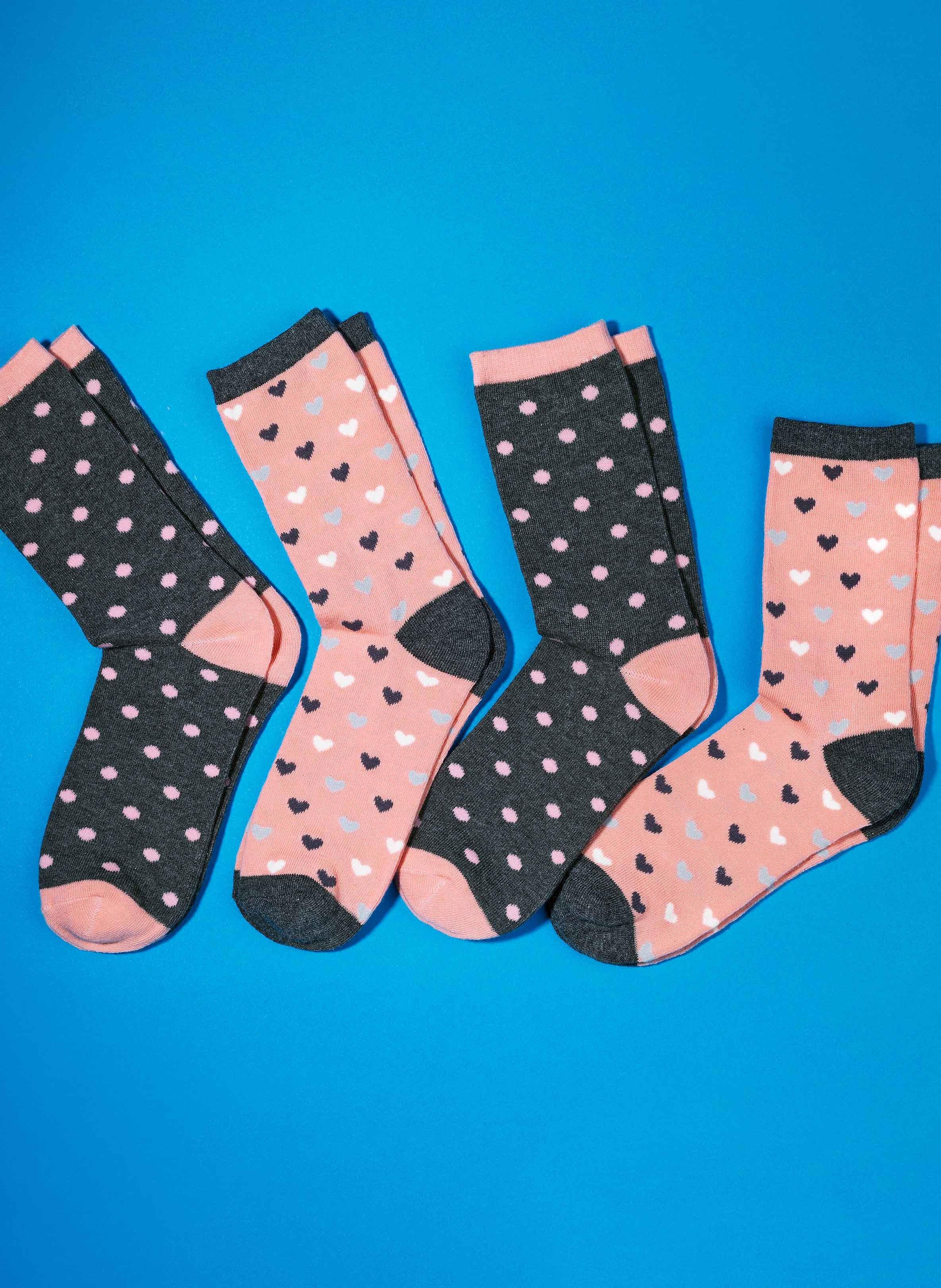 Damen-Socken, gewobene Herzli/Tupfen, 4 Paar