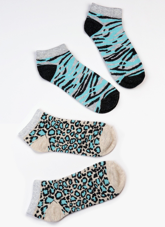 Damen-Sneakers gewobenes Zebra/Leopard-Muster, 4 Stück