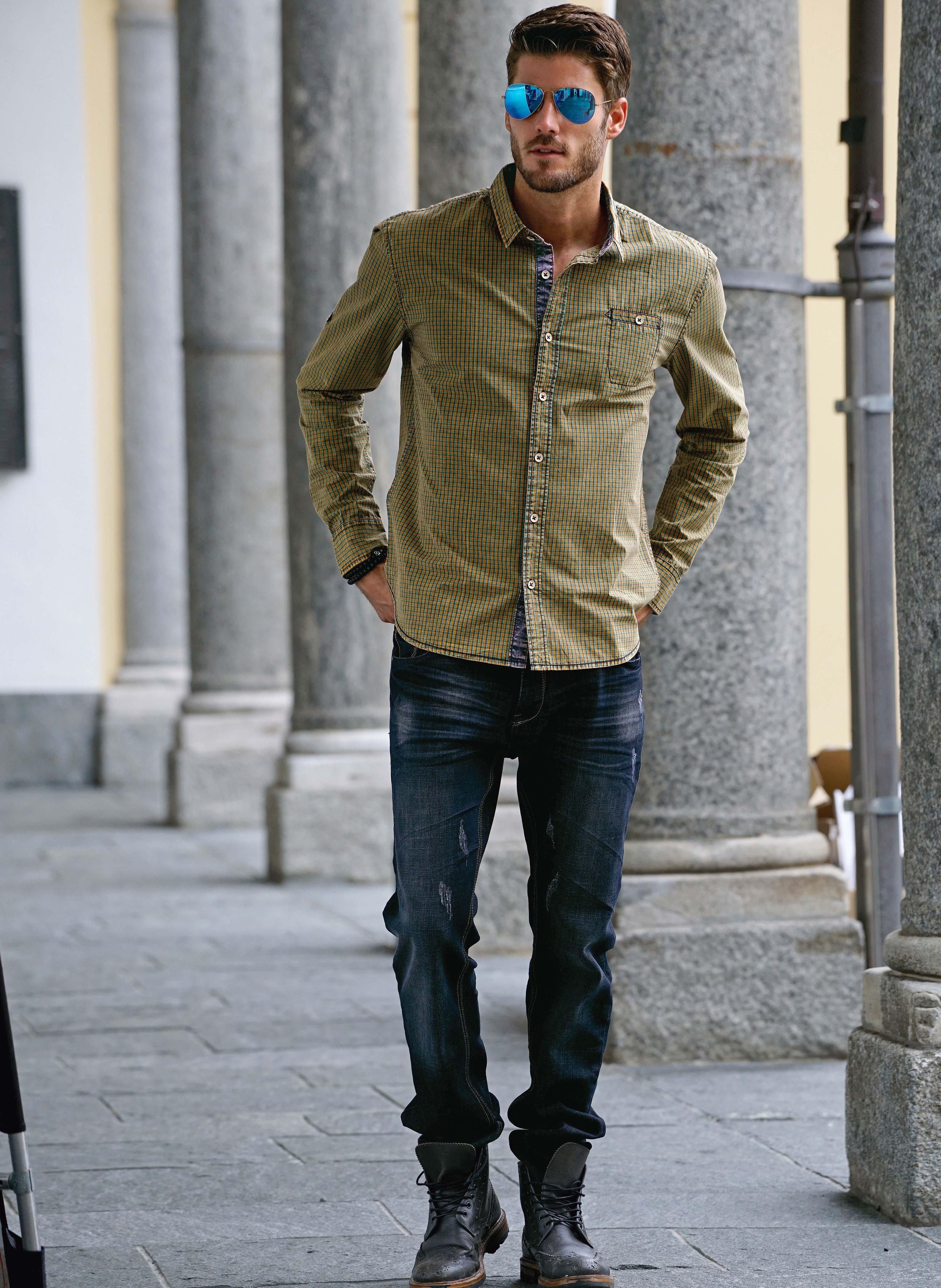 5-Pocket Jeans, Stretch-Denim, Sitzfalten