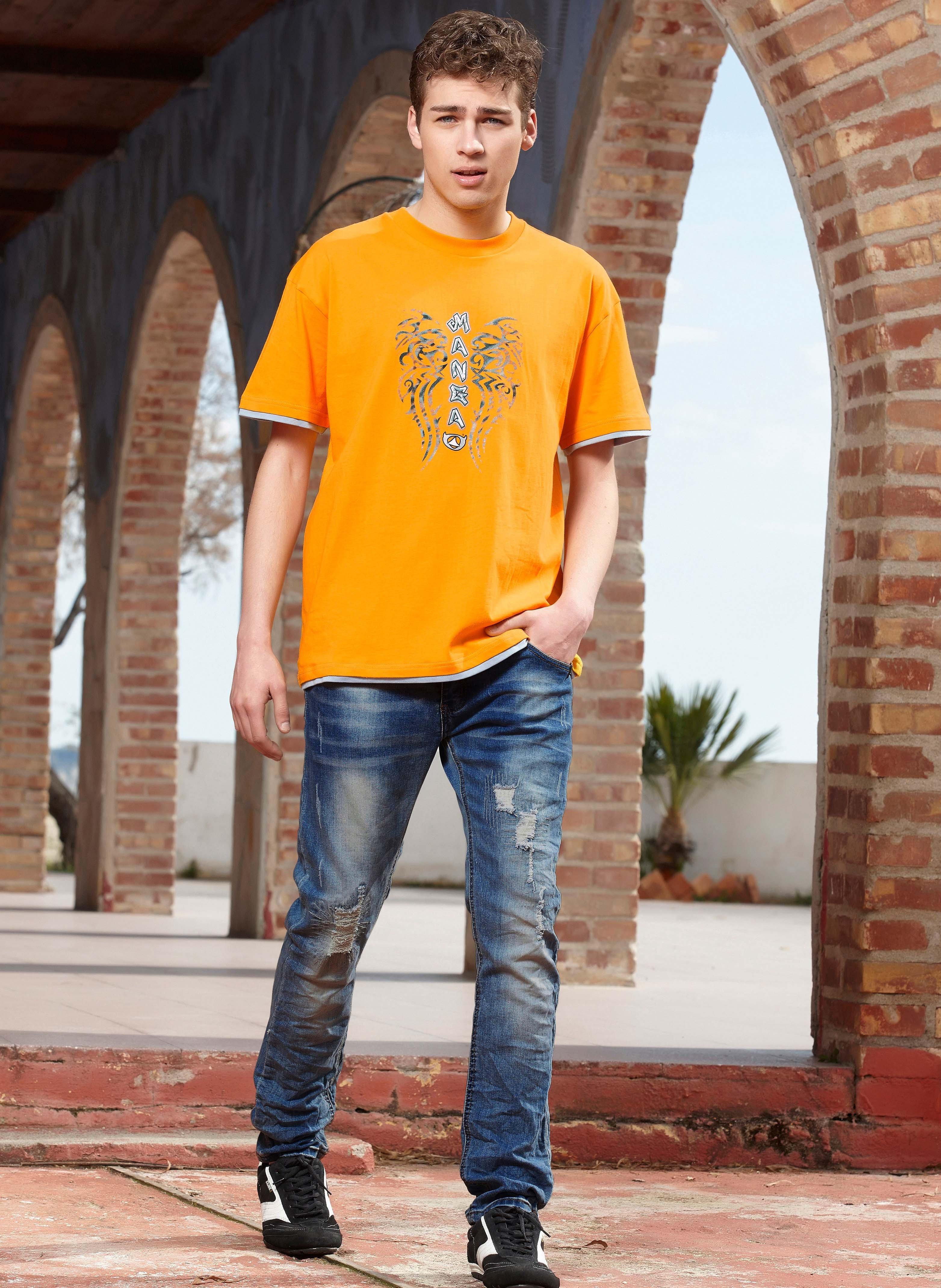 5-Pocket Jeans, Lochapplikation, Stretch-Denim