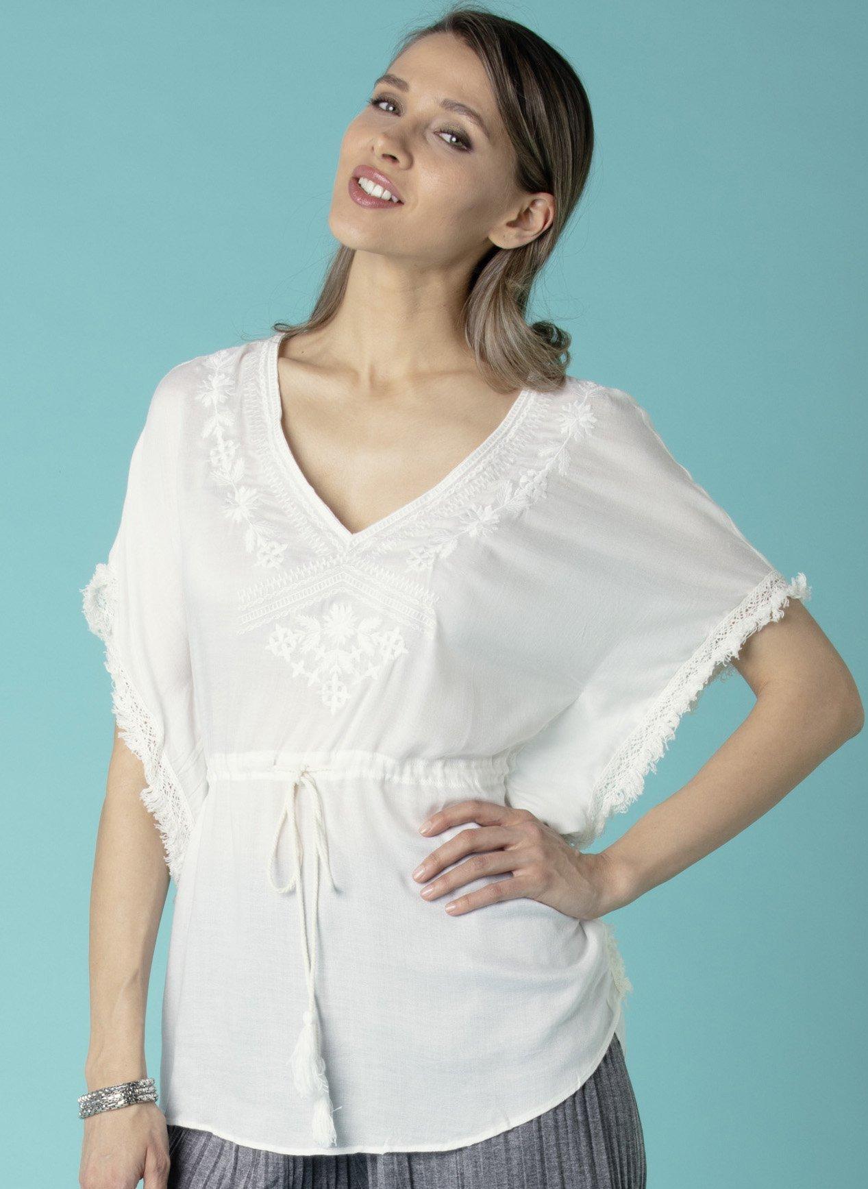 Poncho-Bluse, Fransen