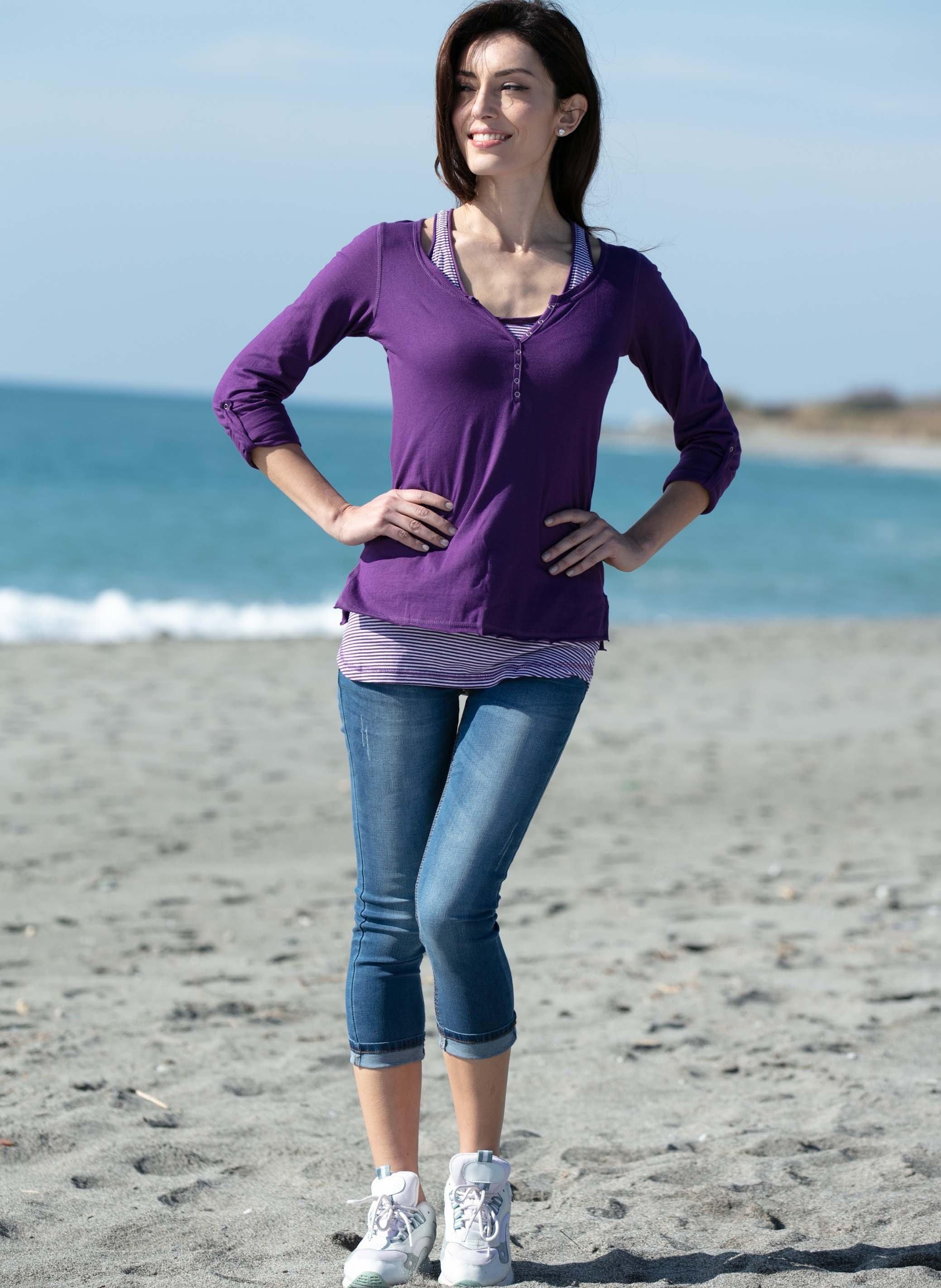 5-Pocket-Capri-Jeans, Umschläge