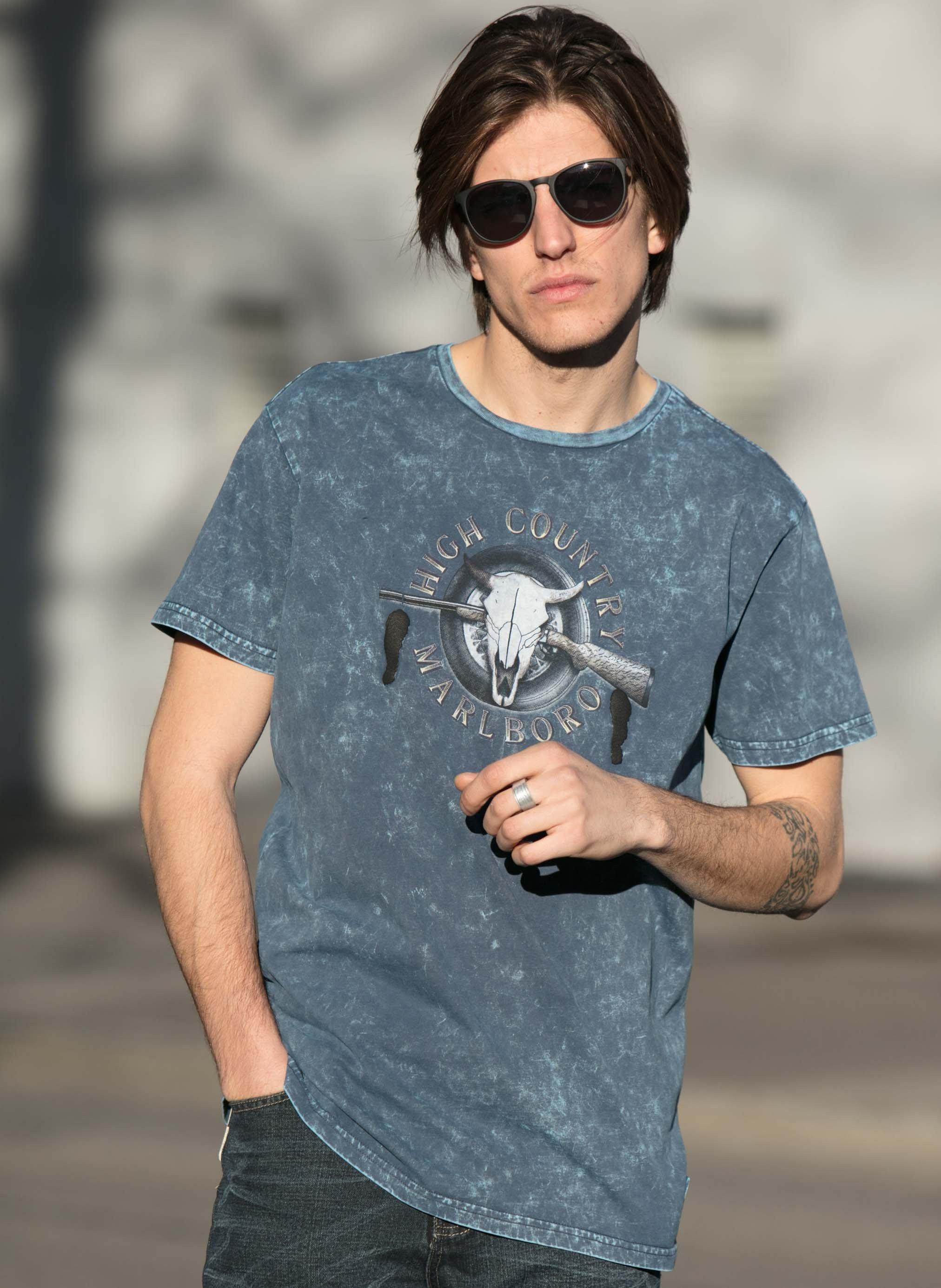 "H-KA-Shirt""Rubber-Print""indigo L 049"