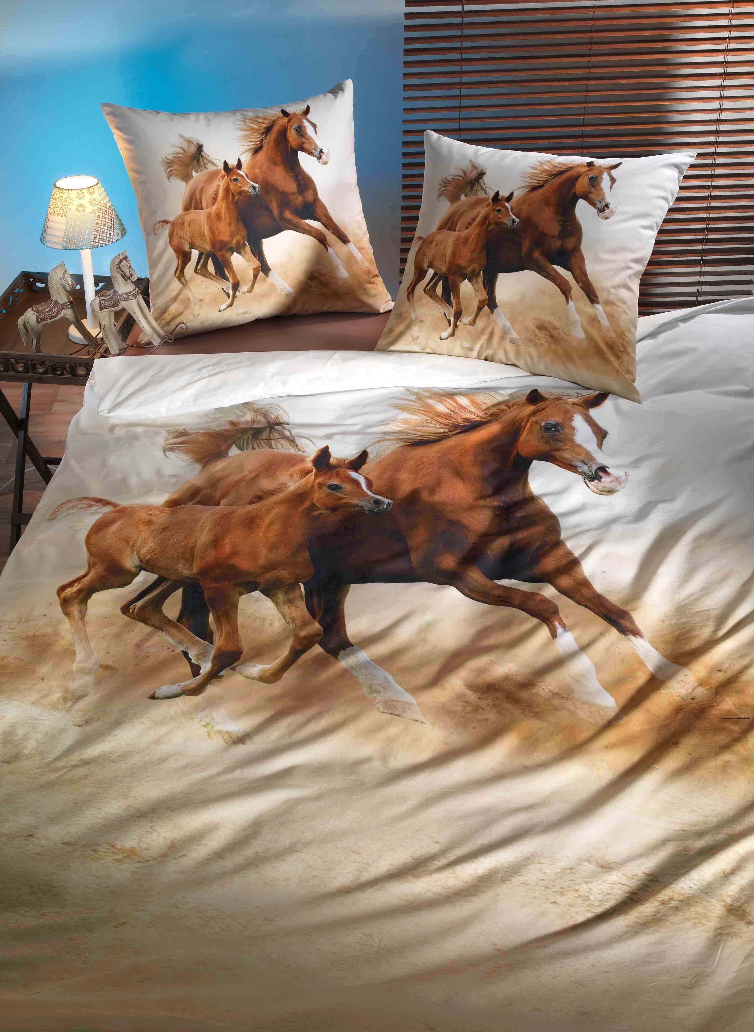 """Digital-Print Bettwäsche-Garnitur """"HORSE LOVE"""""""