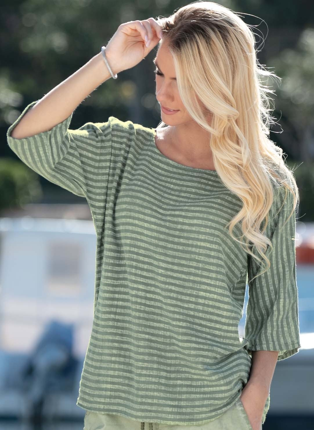 D-3/4 Arm-Shirt,Blockstr.olive L 086