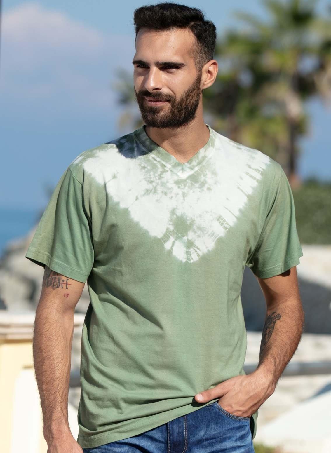 U-Shirt Batik olive L 086
