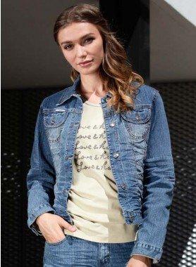 Jeans-Jacke Knitter-Look
