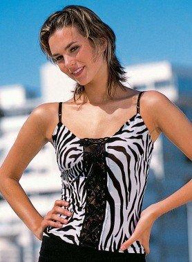 Träger-Top Zebra schwarz/weiss