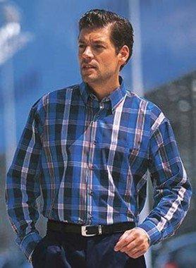 Langarm-Hemd, Karo,königsblau