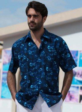 Kurzarm-Hemd, Floral-Motiv