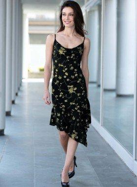 Träg-Kleid, Floral/gold
