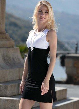 Kleid, weiss/schwarz