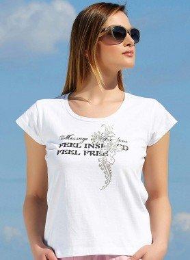 Kurzarm-Shirt, goldfarbiger Strass