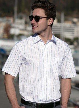 Kurzarm-Hemd, Streifen-Print