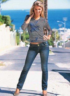 4-Pocket-Röhrli Jeans, Blue-Denim