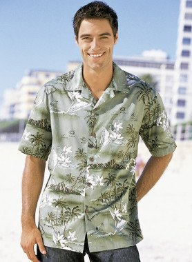 Kurzarm-Hemd,Hawaii-Look