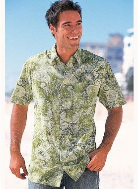 Kurzarm-Hemd, Paisley Motiv