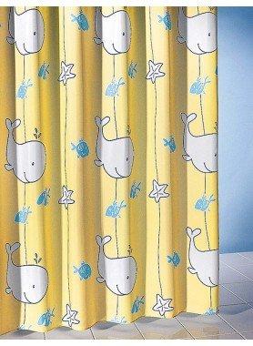 Textil-Duschvorhang Walfisch gelb