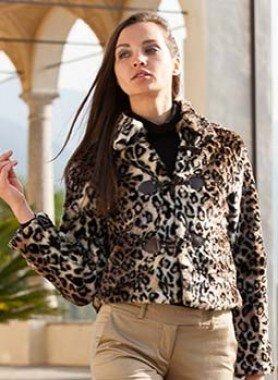 Jacke, Leopardenfell-Imitat