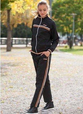 Jogging-Anzug, schwarz/écru/orange