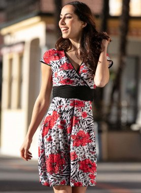 Kurzarm-Kleid, Floral